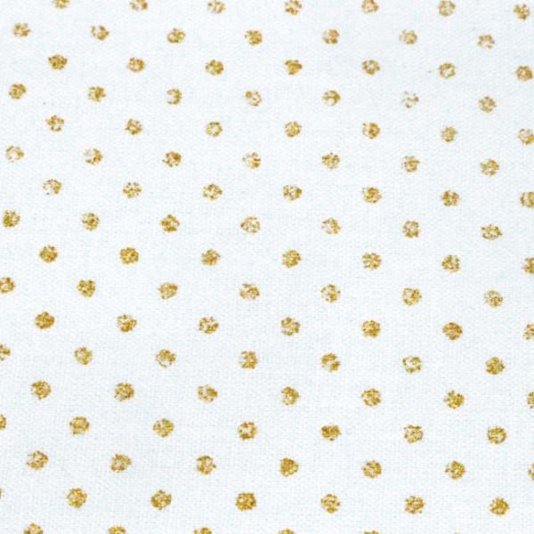 Tissu cretonne motif pois doré 150cm