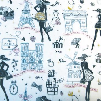 Tissu cretonne déco parisienne 150 cm