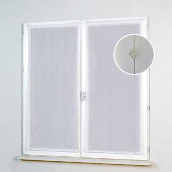 Vitrage voile blanc plombé 60 x 130 cm