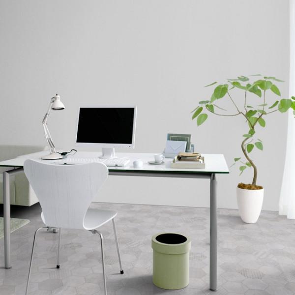 Sol PVC gris clair décor tomettes