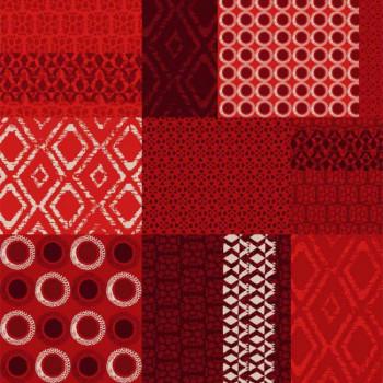 Toile cirée rouge motif aztèque 140 cm