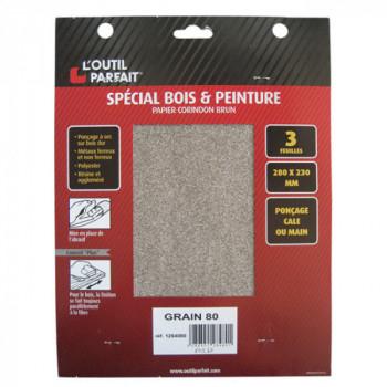 Papier corindon grain 80 spécial bois et peinture