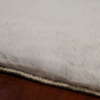 "Tapis fourrure aspect ""peau de lapin"" gris perle 60 x 110 cm"