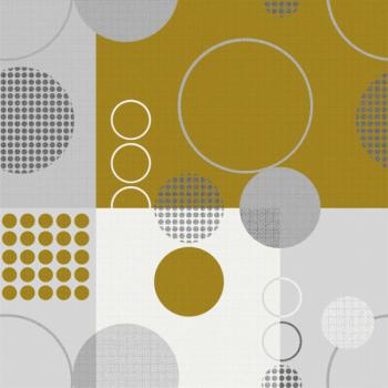 Toile cirée moutarde motif géométrique 140 cm