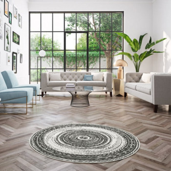 Tapis rond Tourbillon noir et blanc 120 cm