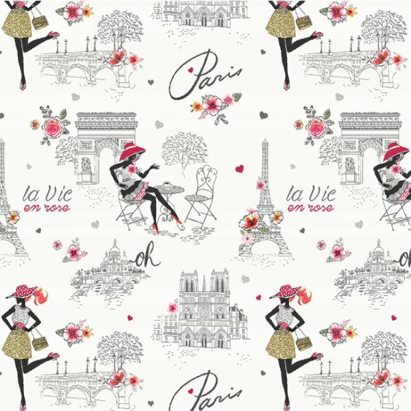 Tissu jacquard motif Paris 145 cm