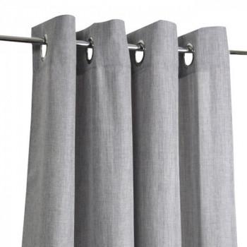 Rideau œillets chambray tissu gris