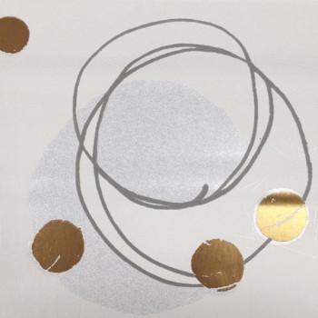 Papier peint intissé peinture abstraite boules dorées