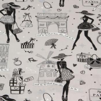 Tissu cretonne motif Paris argent 150 cm