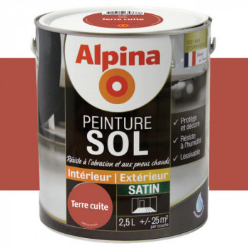 Peinture alpina spéciale sol terre cuite satin 2,5L