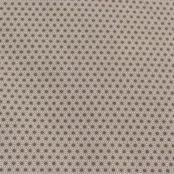Tissu cretonne géométrique blanc taupe 160 cm