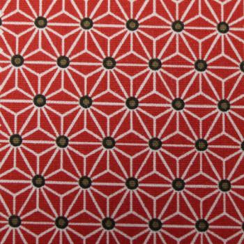 Tissu cretonne rouge motif géométrique saki 160 cm