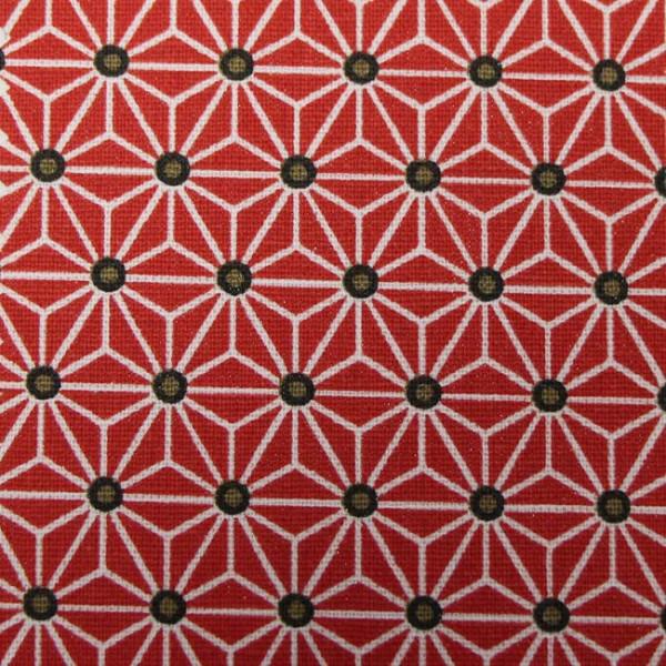 Tissu cretonne rouge motif...