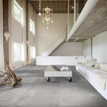 Sol PVC aspect béton gris moderne