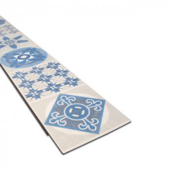Lame vinyle système clic carreau ciment bleu