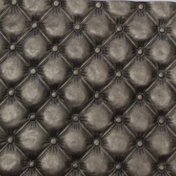 Tissu simili cuir gris métallisé mini capitons 140 cm