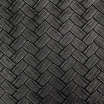 Tissu skaï noir effet tressé 140 cm