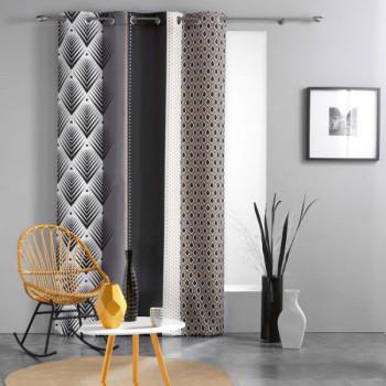 Rideau tissu imprimé géométrique noir et blanc