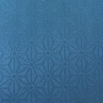 Tissu enduit motif géométrique bleu canard 160 cm