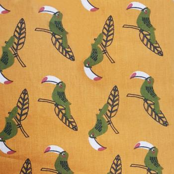 Tissu cretonne jaune motif toucan 150 cm