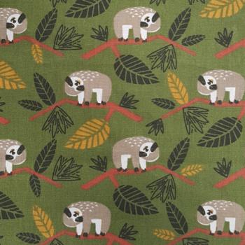 Tissu cretonne vert motif koalas 150 cm