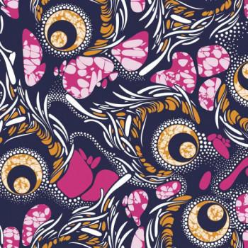 Tissu coton Tourbillons rose 150 cm