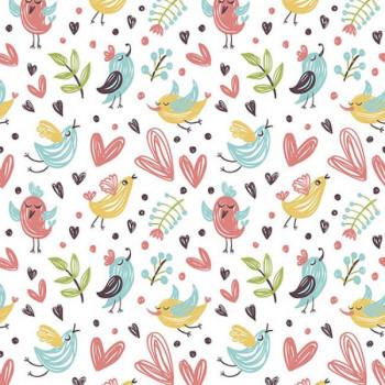 Tissu coton pastel coeur et oiseaux 150 cm