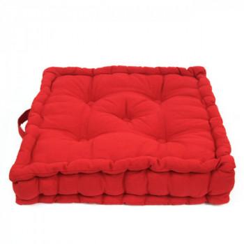 Coussin de sol avec poignée rouge 50x50 cm
