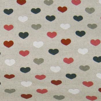 Tissu toile liberty cœurs lin grisé 150cm