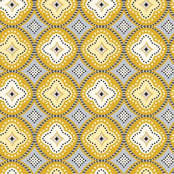 Toile cirée motifs géométrique curry...