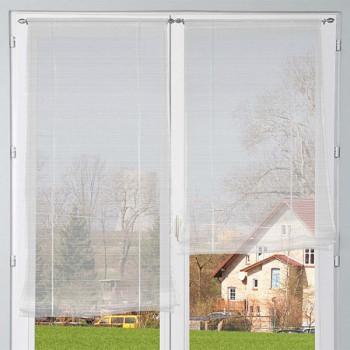 Paire de vitrage remontable fines rayures blanc 45 x 160 cm