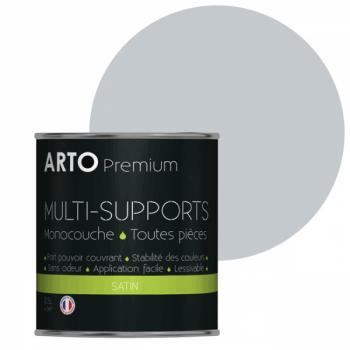 Peinture arto premium multi-supports murs, plafonds, boiseries, plinthes et radiateurs gris mohaire satin 0,5 L