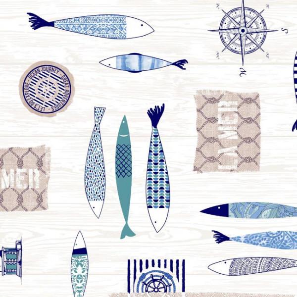 Tissu enduit motif Marin 140 cm