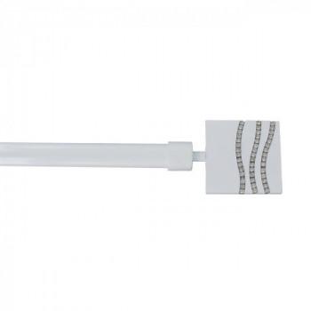 Kit tringle métallique extensible 120-210 embout strass blanc laqué