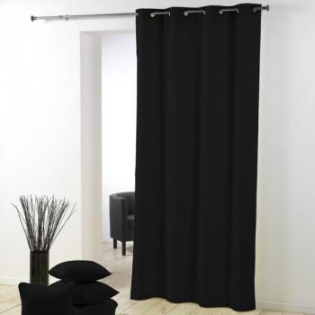 Rideau œillet tissu noir Essentiel