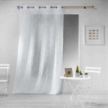 Rideau voile blanc grande hauteur effet lin tissé