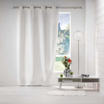 Rideau tissu occultant jacquard blanc