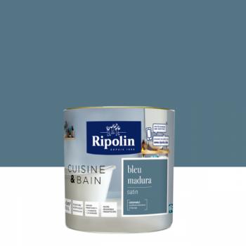 Peinture Ripolin multi-supports Cuisine & bain bleu madura satin 0,5L