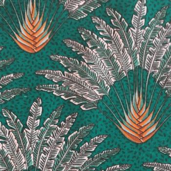 Tissu cretonne bleu motif palmes 150 cm