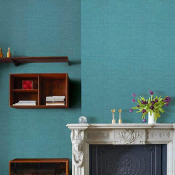 Papier peint intissé lessivable turquoise