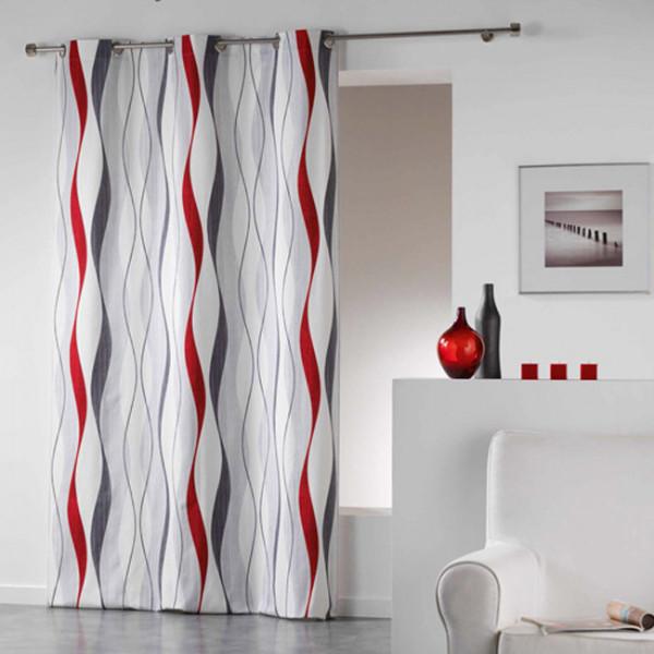 Rideau blanc vagues rouge et gris