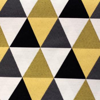 Tissu jacquard triangles jaune noir et blanc 140 cm