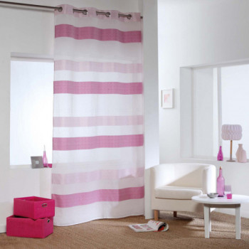 Rideau voile jacquard rayures roses