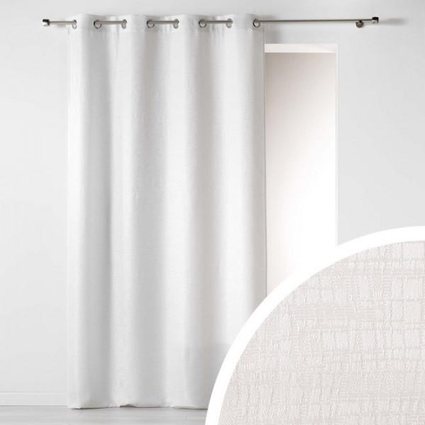 Rideau tissu jacquard effet moiré blanc