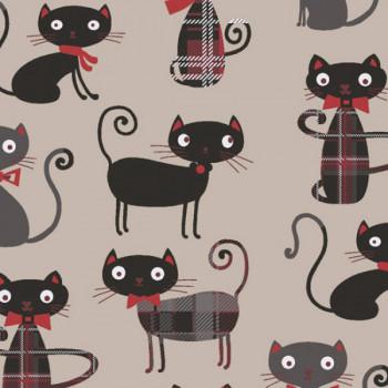 Tissu cretonne imprimé chats 160 cm