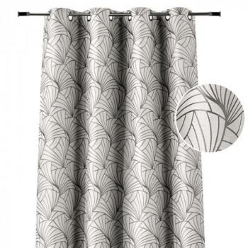 Rideau œillets jacquard motifs éventails gris