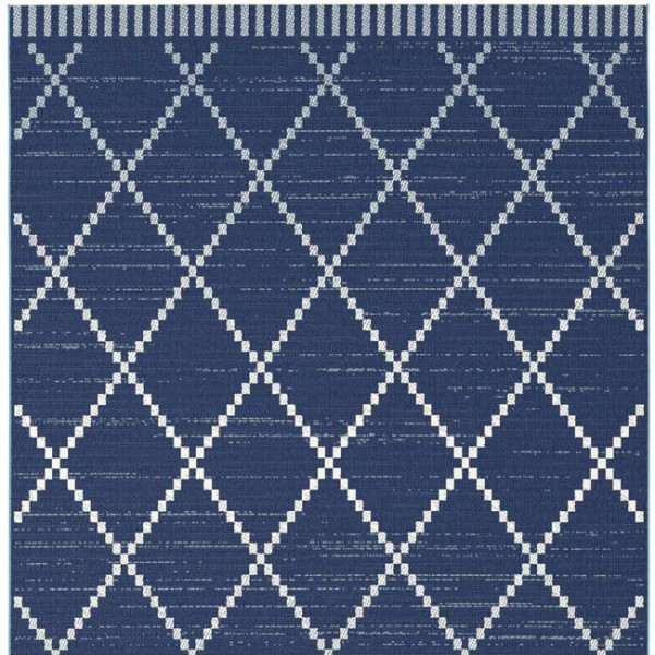 Tapis berbère bleu et blanc 60 x 110 cm