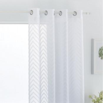 Rideau voile étamine blanc fil coupé grande hauteur