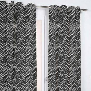 Rideau jacquard noir et blanc motifs chevrons