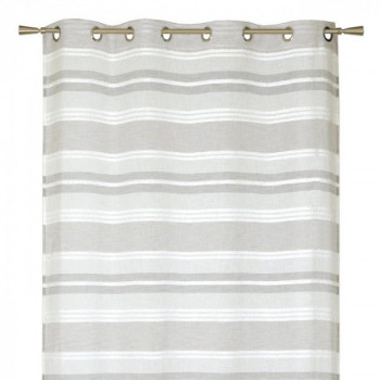 Rideau tissu jacquard gris à rayures horizontales